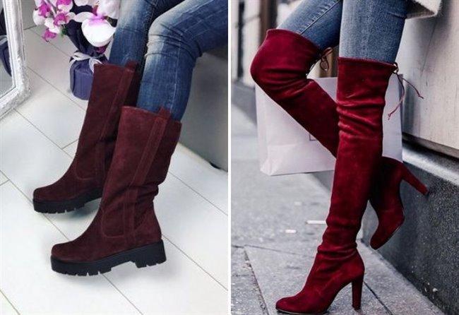 53519bdfebf704 З чим носити бордові замшеві чоботи: різні чоботи із замші кольору бордо
