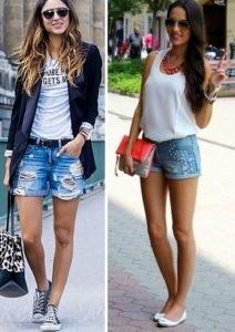 15525b903 Юним підійдуть джинсові шорти зі стразами, заклепками, шипами, бахромою.  Жінкам постарше – класичні варіанти без зайвих прикрас.